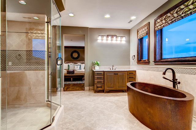 copper bathtub Bathroom Traditional with bathroom lighting beige tile