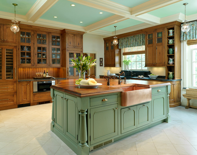 Copper Farmhouse Sink Kitchen Traditional with Antique Brass Bead Board