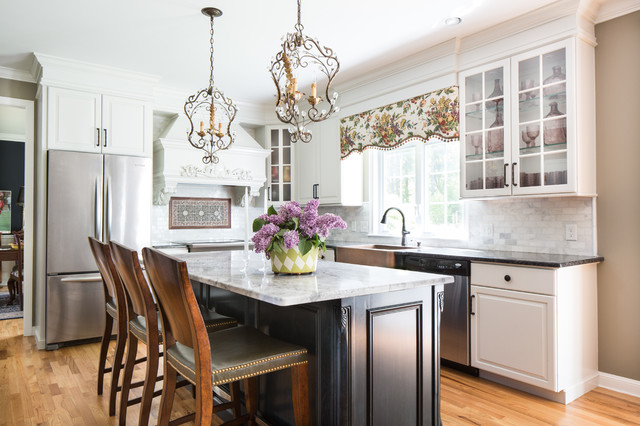 Copper Farmhouse Sink Kitchen Traditional with Black Island Bling Bronze