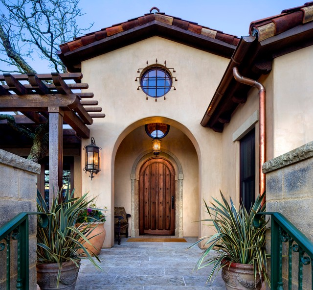 Copper Gutters Entry Mediterranean with Arched Door Front Entrance