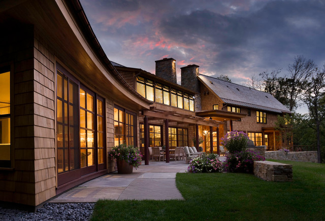 Copper Gutters Exterior Rustic with Gable Roof Lakefront Home