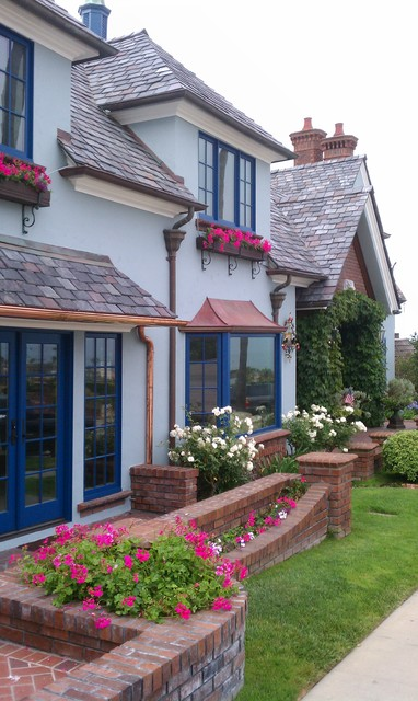 copper gutters Exterior Traditional with blue door blue double