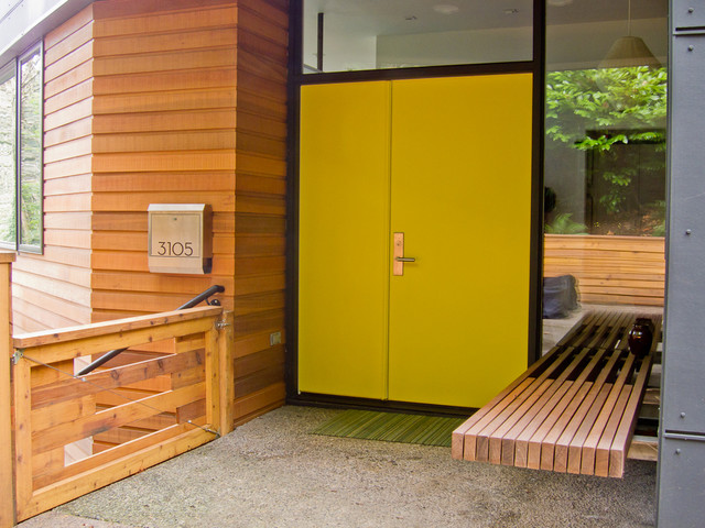 Copper Mailbox Entry Contemporary with Chartreuse Door Floating Bench