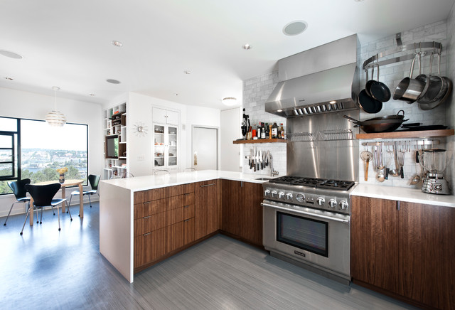 Cork Flooring Pros and Cons Kitchen Contemporary with Built in Shelves Floating