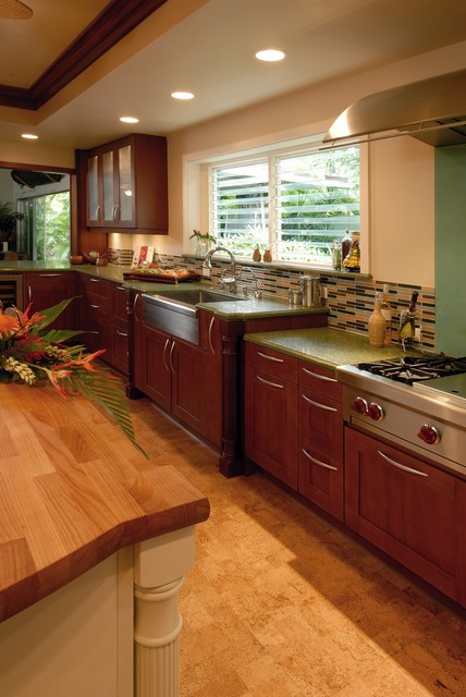 cork flooring pros and cons Kitchen Tropical with apron sink bullet tiles