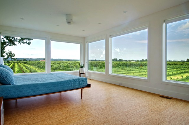 cork flooring reviews Bedroom Contemporary with blue bedding corner window