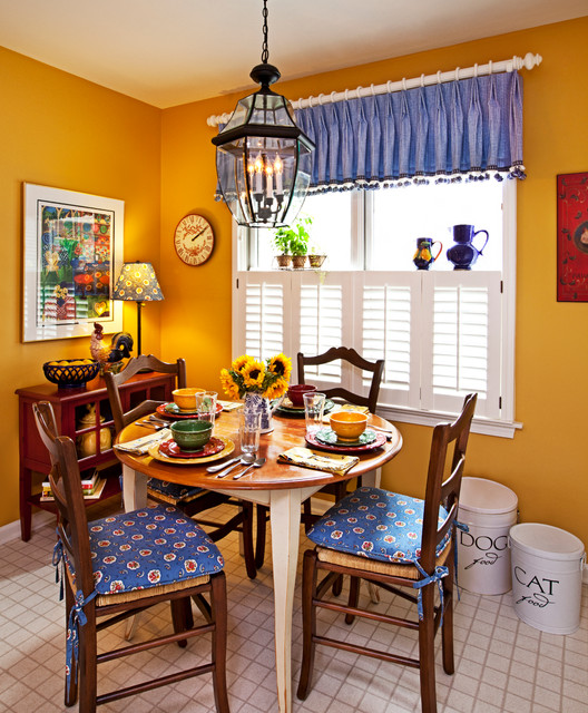 Corner Curtain Rod Dining Room Traditional with Breakfast Nook Bright Colors