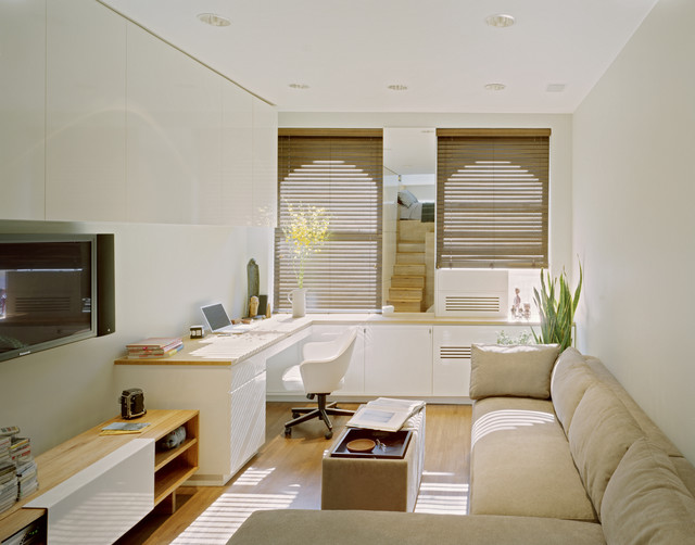 Corner Workstation Home Office Contemporary with Airy Built in Storage