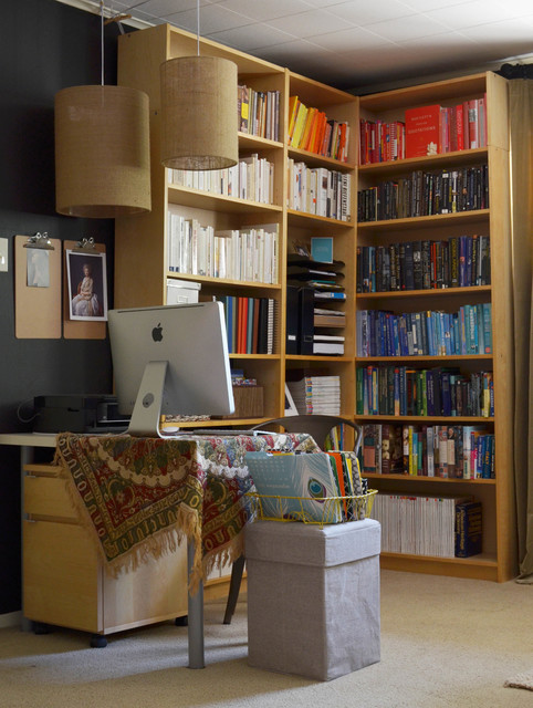 Corner Workstation Home Office Eclectic with Art Barrel Black Wall