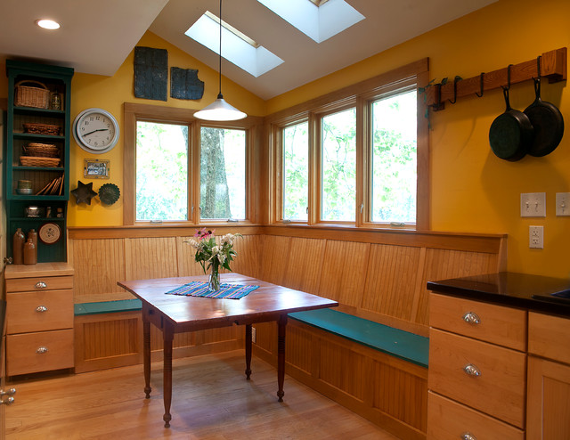 Corner Workstation Kitchen Eclectic with Antique Banquette Seating Beadboard