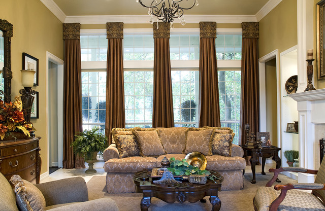 cornice board Living Room Mediterranean with cabriole legs damask draperies