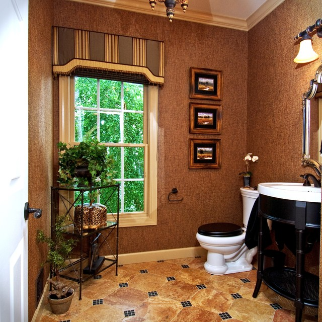 Cornice Board Powder Room Traditional with Bathroom Lighting Beige Ceiling