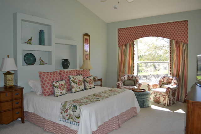 Cornice Boards Bedroom Eclectic with Armchair Bed Blue Blue