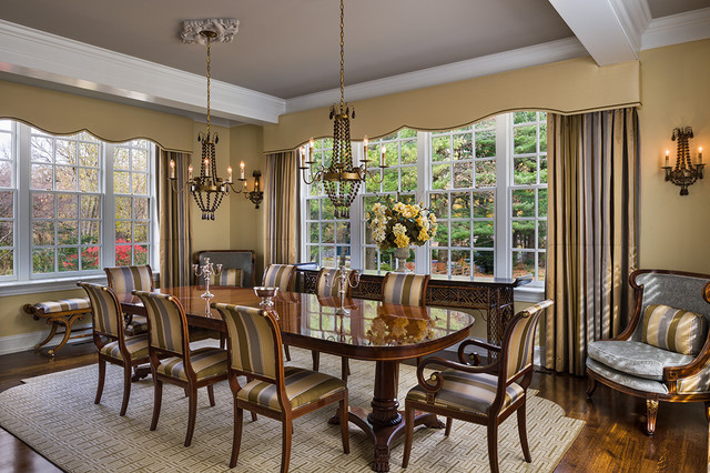 Cornice Valance Dining Room Traditional with Beige Window Treatment Chandelier