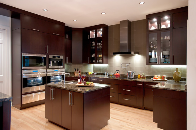 Cosmos Granite Kitchen Contemporary with Cooktop Dark Wood Cabinets