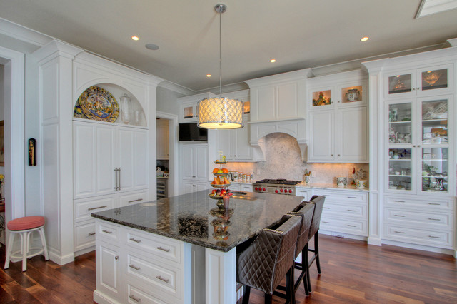 cosmos granite Kitchen Traditional with arch archway beige ceiling
