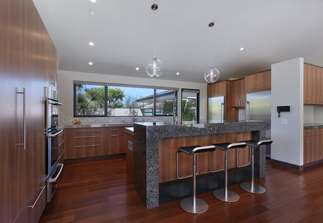 Cost of Quartz Countertops Kitchen Midcentury with Black Bar Stools Glass