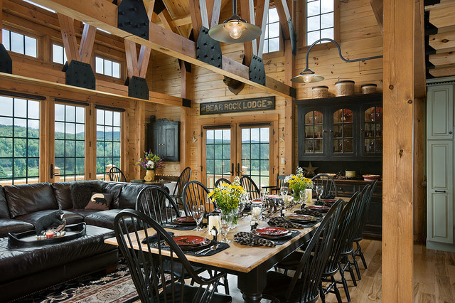 Coventry Log Homes Dining Room Rustic with Bear Rock Cabin Packages