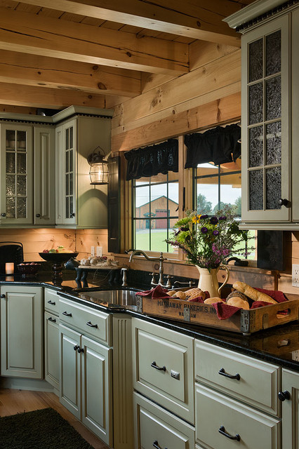 coventry log homes Kitchen Rustic with Bear Rock cabin packages