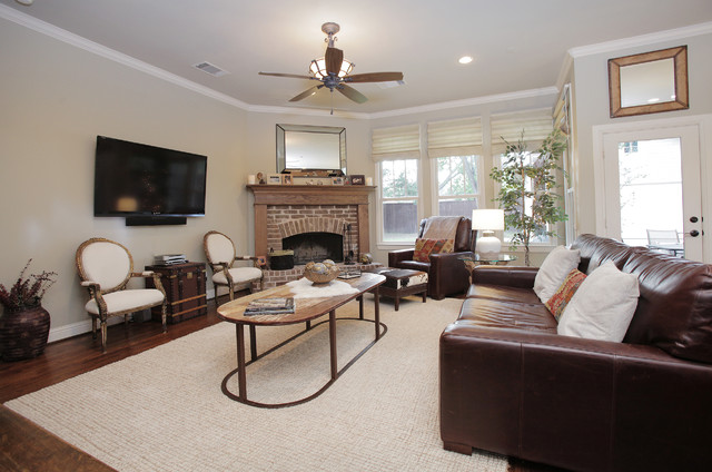 Cowhide Pillows Living Room Rustic with Area Rug Baseboards Brick