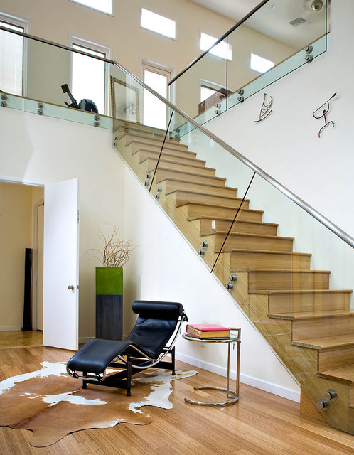 Cowhides Staircase Contemporary with Adjustable Table Area Rug