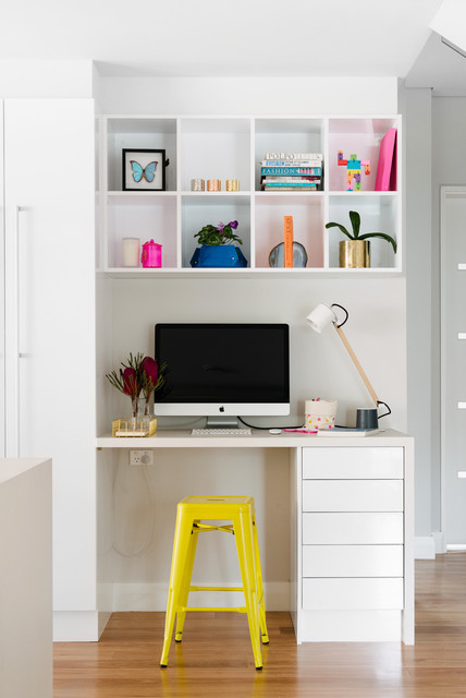 Cubby Shelves Home Office Contemporary with Bright Yellow Tolix Stool
