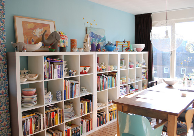 Cube Bookcase Dining Room Contemporary with Art Books Bookshelves Color