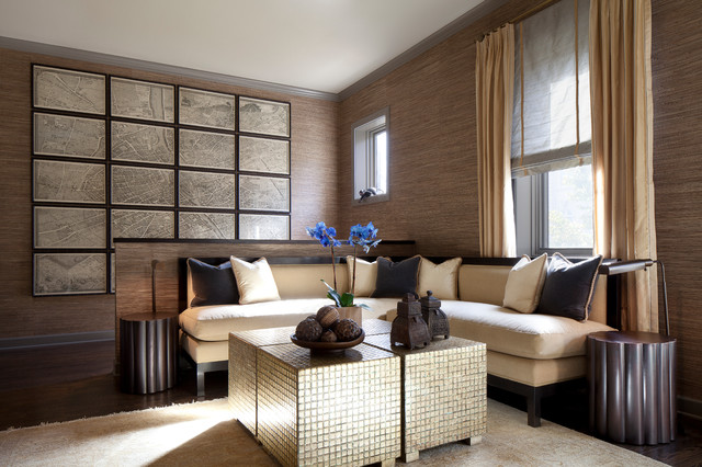Cube-Ottoman-Living-Room-Contemporary-With-Bright-Pillows-Brown
