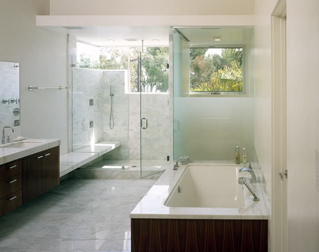 Cultured Marble Shower Bathroom Modern with Dark Stained Cabinets Frosted