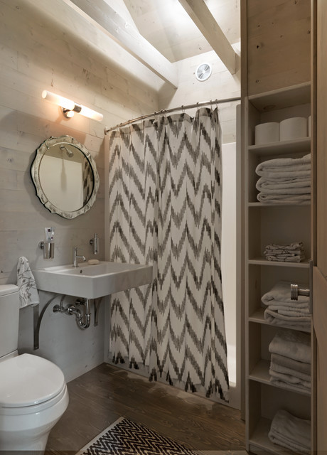 curtain liner Bathroom Rustic with black and white rug
