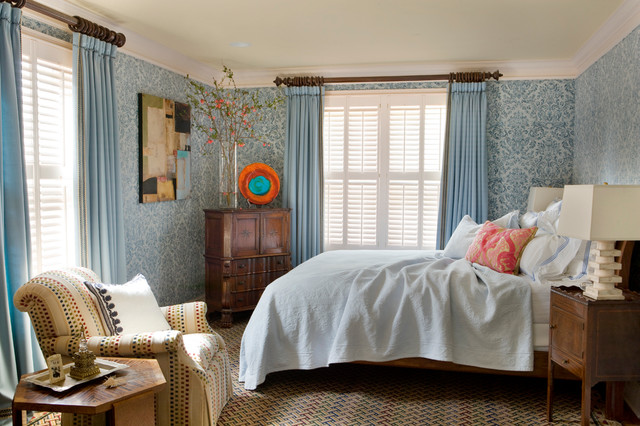 curtain rod finials Bedroom Traditional with blue curtains blue wallpaper