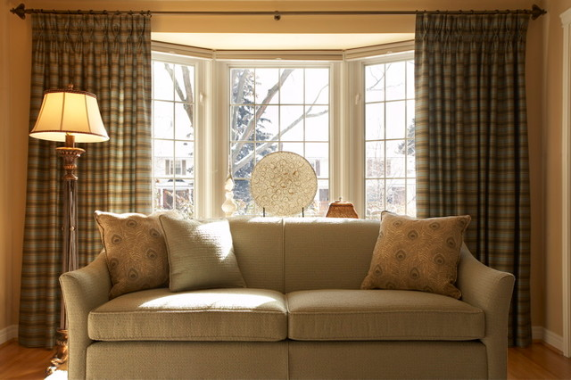 Curtain Rods for Bay Windows Living Room Traditional with Blue Chair Blue Sofa