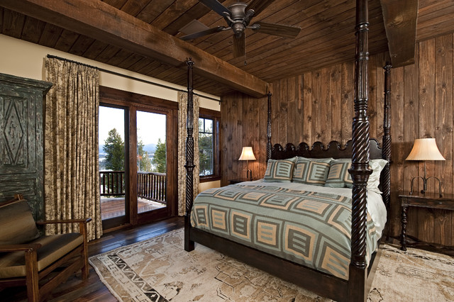 curtains for sliding glass doors Bedroom Rustic with area rug bedside table