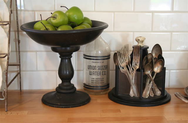 Cutlery Caddy Kitchen Traditional with Antique Black Green Apples