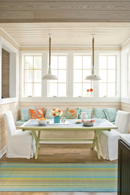 dash and albert rugs Dining Room Beach with bench seat built in