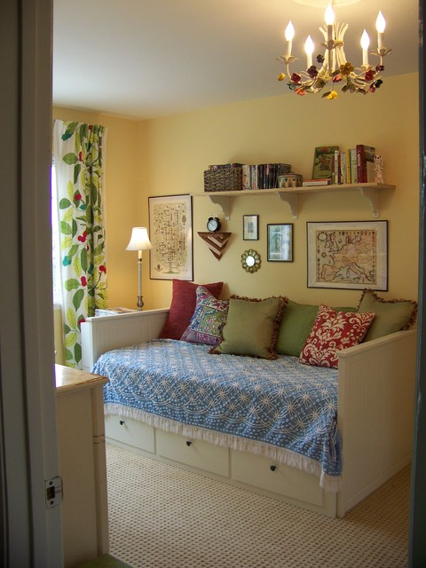 daybed ikea Bedroom Traditional with clock cream walls day