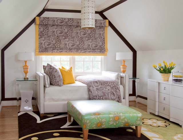 Daybed with Trundle Bedroom Traditional with Acrylic Side Tables Brown