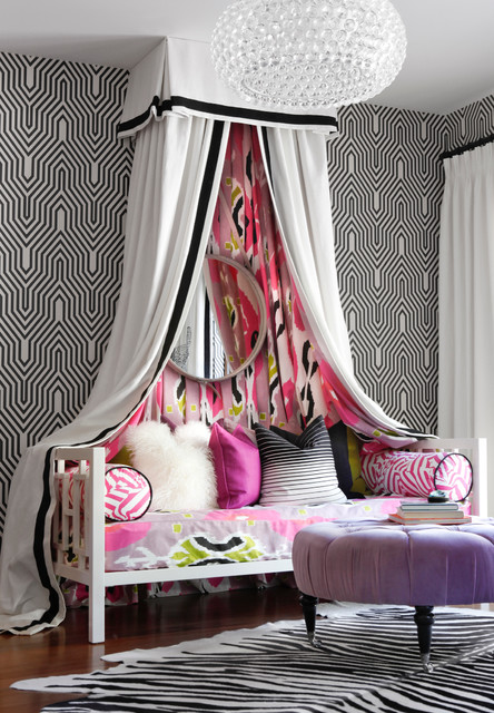 Daybeds for Girls Bedroom Contemporary with Black and White Wallpaper