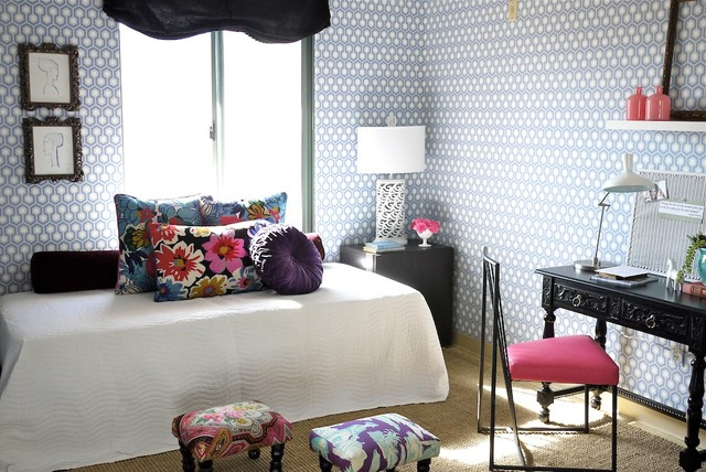 daybeds for girls Bedroom Eclectic with antique desk blue and
