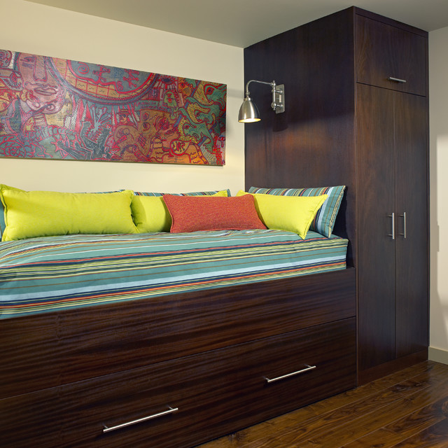 daybeds with trundles Bedroom Contemporary with bed bright industrial modern