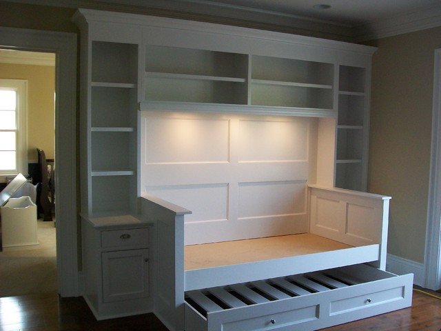Daybeds with Trundles Spaces Traditional with Bookcases Built Ins Built Ins