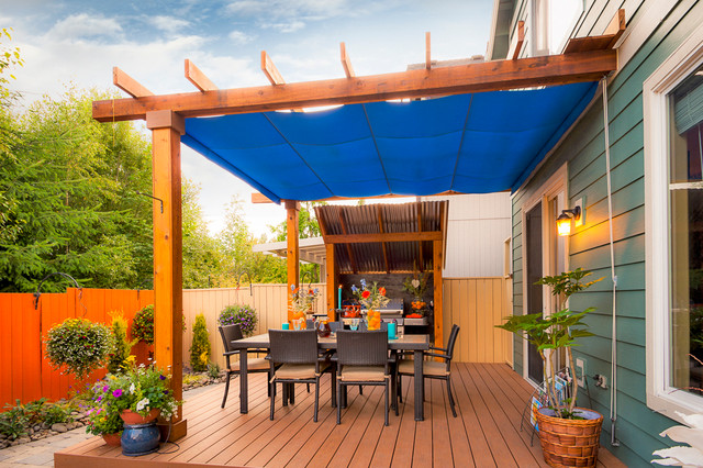 Deck Awnings Deck Transitional with Ambiance Lighting Arbors Blue