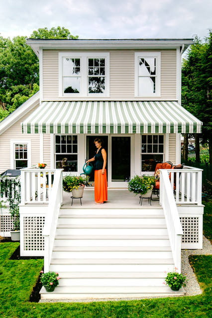 Deck Awnings Exterior Traditional with Potted Plants Steps Striped