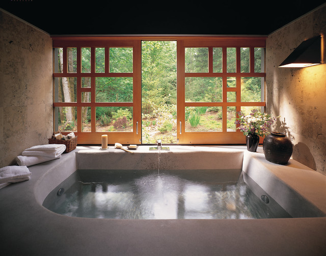 Deep Soaking Tub Bathroom Asian with Architectural Doors Architectural Windows