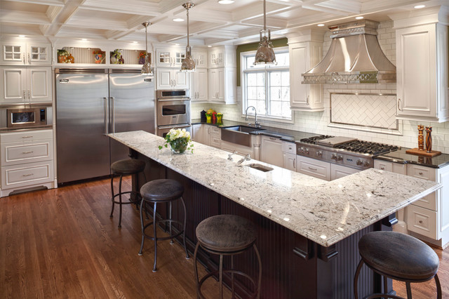 Delicatus Granite Kitchen Transitional with Beige Countertop Bright White