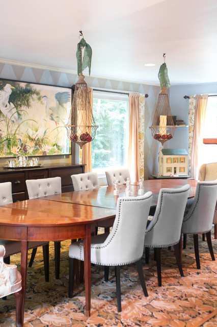 Demilune Table Dining Room Traditional with Bird Apinting Buffet Buffet