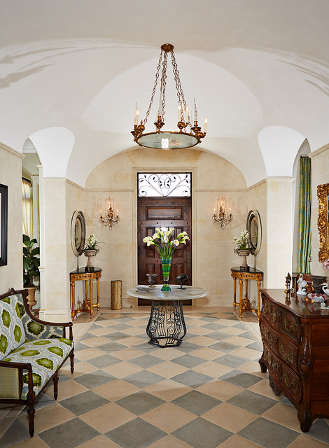 Demilune Table Entry Traditional with Beige Walls Checkerboard Floor