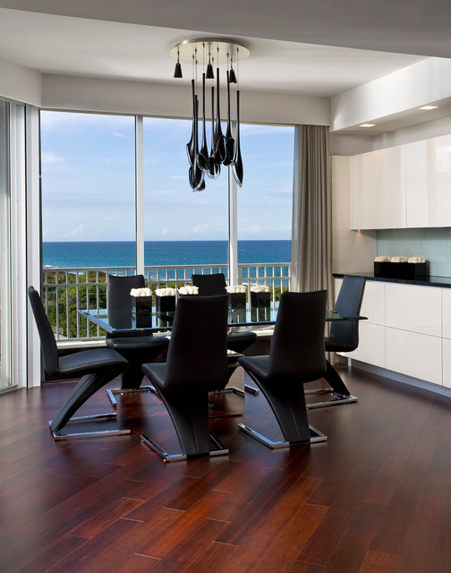 Dinette Chairs Dining Room Contemporary with Balcony Built in Cabinets Chandelier