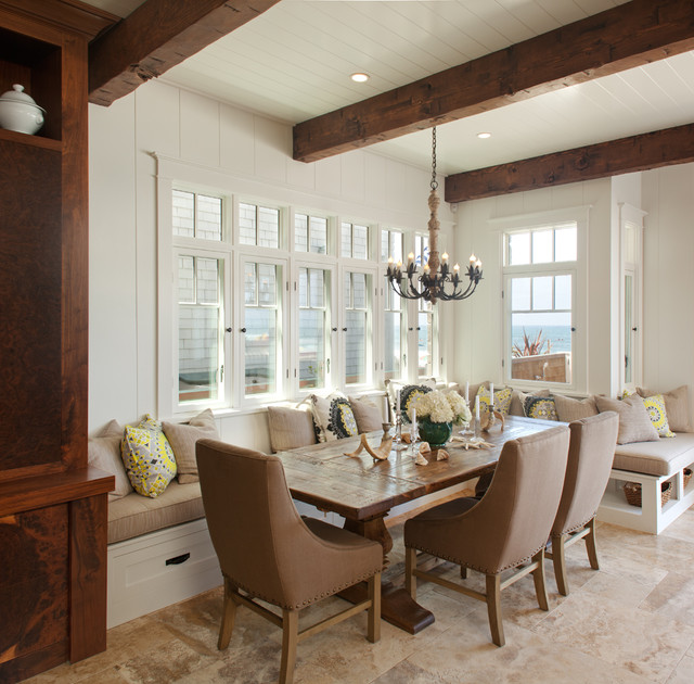 Dining Banquette Dining Room Beach with Beach House Bead Board