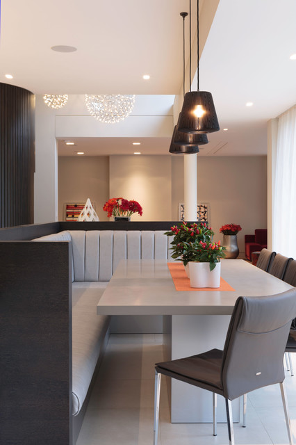 Dining Banquette Dining Room Contemporary with Banquette Seating Black Pendant